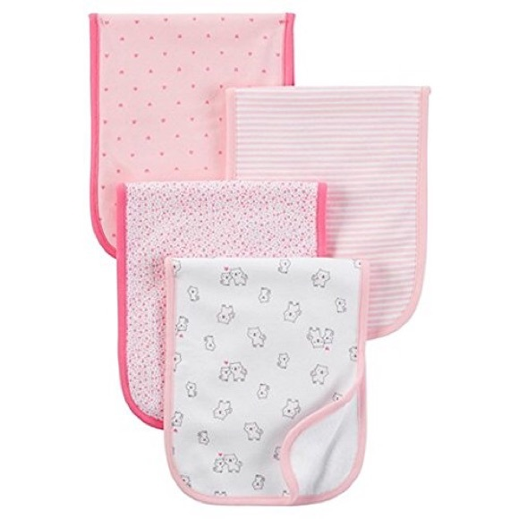 eb0ab75e0 Carter's Other | Carters Baby Girls 4pack Burp Cloth Set Pink | Poshmark